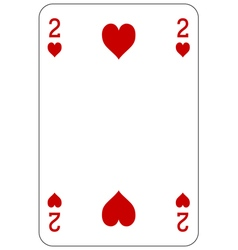 Poker playing card 2 heart vector image vector image