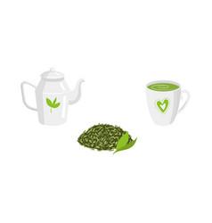 set - green leaf tea teapot mug of tea vector image