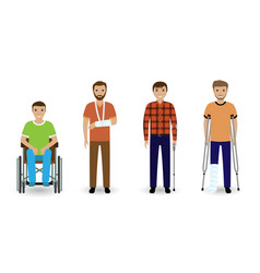 disability people group of four invalid men vector image