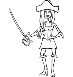 woman pirate cartoon for coloring book vector image