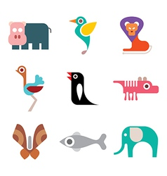 animal colorful icons vector image vector image