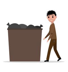 cartoon hobo beggar jobless man dumpster vector image vector image