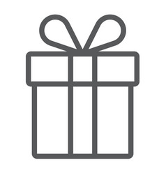 gift box line icon present and holiday package vector image