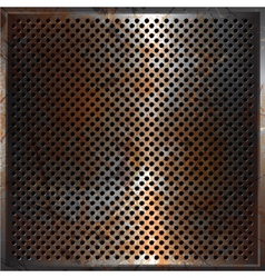 grunge perforated metal background vector image