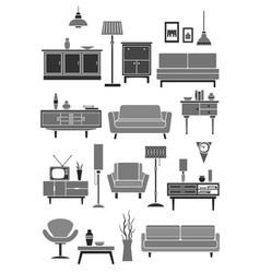 home furniture and interior items vector image