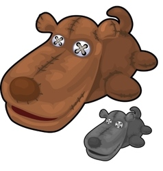 Obsolete soft toy brown dog with rough stitches vector image