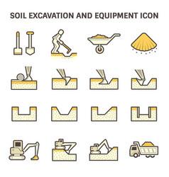 soil excavation icon vector image
