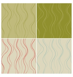 Wavy lines seamless patterns set vector image vector image