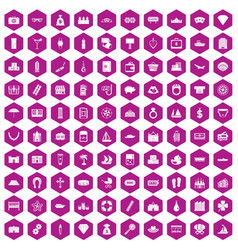 100 wealth icons hexagon violet vector