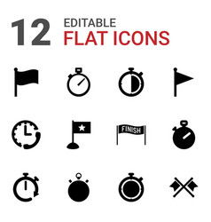 12 finish icons vector