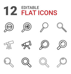 12 magnification icons vector image
