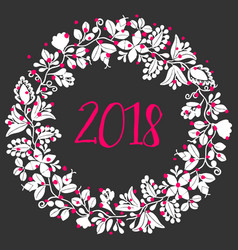 2018 new year wreath isolated on black background vector