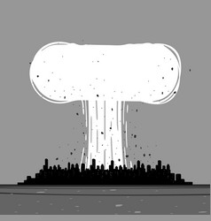 a nuclear explosion in city vector image