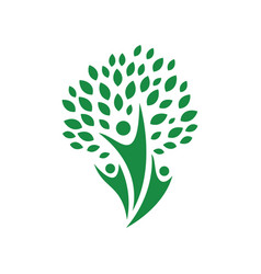 abstract healthy people logo with herbal vector image