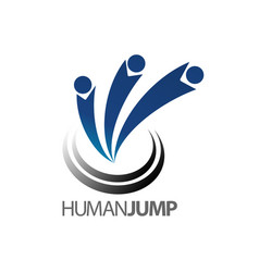 abstract human jump logo concept design symbol vector image