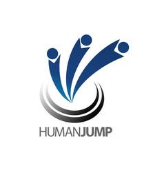 abstract human jump logo concept design symbol vector image