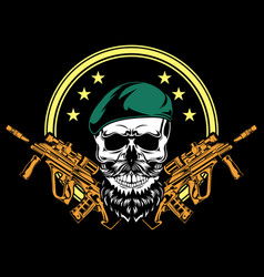 army skull cartoon vector image