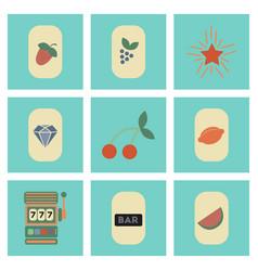 assembly flat icons poker symbols vector image