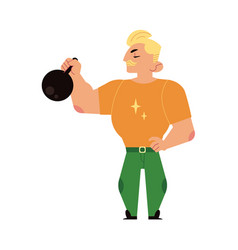 Athlete strongman weightlifter lifting kettlebell vector