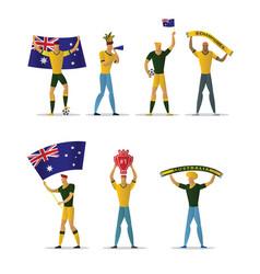 australia football fans cheerful soccer vector image