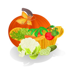 Basket with vegetables and pumpkin celebratory vector