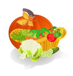 basket with vegetables and pumpkin celebratory vector image