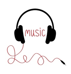 Black headphones with cord and red word Music vector image