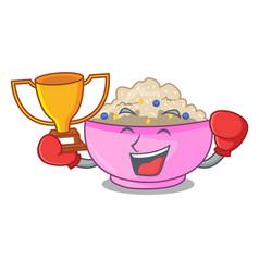 Boxing winner cooked whole porridge oats in vector