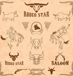 bulls and rodeo icons collection vector image
