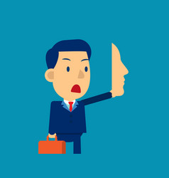 businessman holding mask in front concept vector image