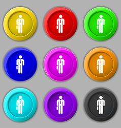 Businessman icon sign symbol on nine round vector