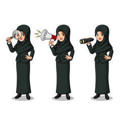 Businesswoman with veil looking for poses vector