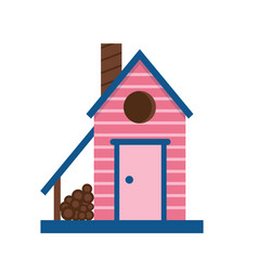 cartoon bird house icon vector image