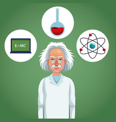character scientist physical and formula atom test vector image