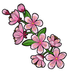 Cherry blossom embroidery patch vector