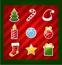 christmas items icons vector image