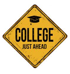 College vintage rusty metal sign vector