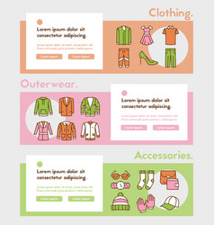 color linear icon banner set clothing vector image