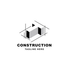 Construction logo design with letter t shape icon vector