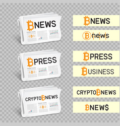 crypto newspapers set transparent vector image