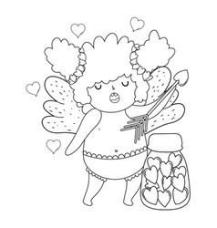 Cute cupid chubby girl with mason jar vector
