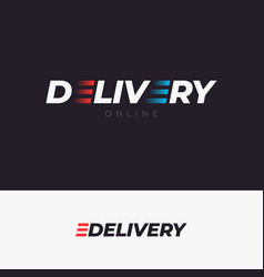 delivery logo with letter e concept on dark vector image