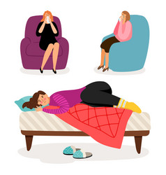 depressed girls characters vector image