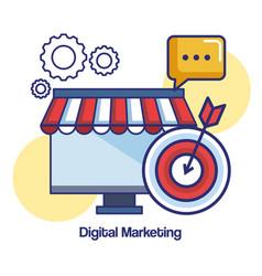 digital marketing computer target message shop vector image