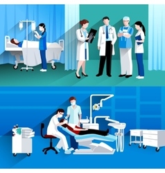 Doctor and nurse 2 medical banners vector