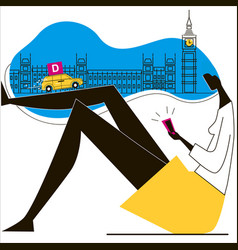 Express delivery london big ban woman with vector
