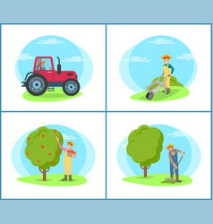 Farmer with rake on field vector