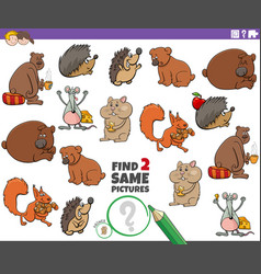 Find two same animal characters educational task vector