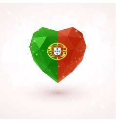 Flag of Portugal in shape diamond glass heart vector
