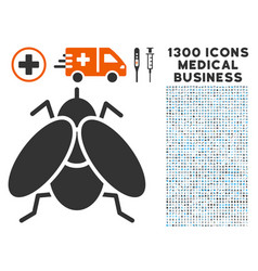 fly insect icon with 1300 medical business icons vector image